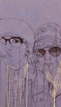 New Embroidered Portraits by Nike Schroeder thread textiles portraits illustration