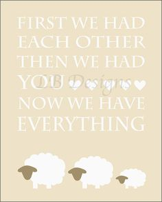 Cream and Brown Lamb Gender Neutral Nursery Quote, $8.00