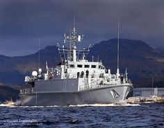 Royal Navy Sandown Class Minehunter HMS Pembroke is pictured sailing from HMNB Clyde in Western Scotland.