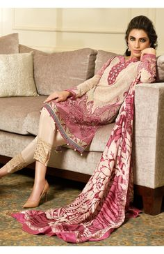 Faraz Manan Crescent Luxury Collection 2015 - Cream with Shocking Pink Embroidered Luxury Dress (New)