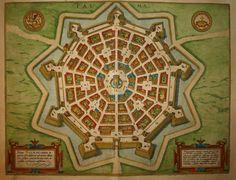Map of Palmanova, Italy by Braun Hogenberg http://www.philipsharpegallery.com/product/palma-by-braun-hogenberg-1598/