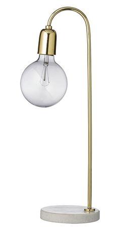 Bloomingville+Bordlampe++-+Enkel+og+stilren+messingbelagt+bordlampe+med+fot+i+marmor.