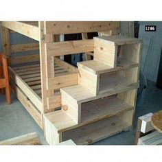 bunk bed stairs with drawers bunk bed with stairs plans bunk bed stairs plans free bunk bed plans stairs drawers how to build bunk bed stairs with drawers Bunk Bed Shelf, Bed Shelves, Bunk Beds With Stairs, Kids Bunk Beds, Bookcase Stairs, Loft Bed Stairs, Bunk Bed Ladder, Bunk Beds For Adults, Toddler Loft Beds
