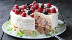 Iskake med marengsbunn Norwegian Food, Ice Cake, Pudding Desserts, Raspberry Cheesecake, Cake Cookies, Yummy Cakes, Sweet Recipes, Cookie Recipes, Cake Decorating