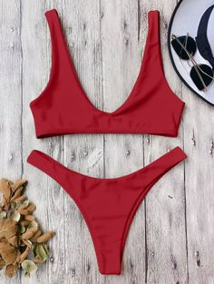 SHARE & Get it FREE | High Cut Scoop Bikini Set - Red MFor Fashion Lovers only:80,000+ Items • New Arrivals Daily Join Zaful: Get YOUR $50 NOW!