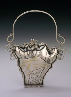 Evening Bag | David Brand & Sandra Picciano-Brand.  Hand fabricated from sterling silver and 24 K gold, 24k gold keum boo.