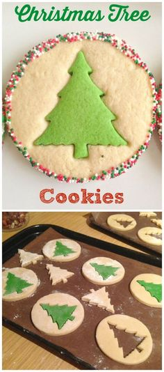 christmas treats I love these simple Christmas Tree Cookies - so great for baking with kids this Christmas! Sugar cut-out cookies take on a whole new life with these inventive cookies made with a simple and delicious vanilla sugar cookie dough. Christmas Tree Cookies, Christmas Sweets, Christmas Cooking, Holiday Cookies, Holiday Baking, Christmas Desserts, Holiday Treats, Simple Christmas, Magical Christmas
