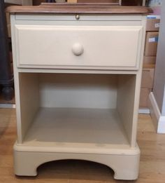 Bedside Table in Old Ochre. Top stained dark and waxed. Table has both a draw and a pull out cup stand. Painted Bedside Tables, Annie Sloan Chalk Paint, Nurseries, Painting, Furniture, Home Decor, Babies Rooms, Decoration Home, Room Decor