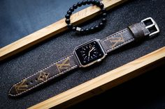 Change any watch strap you like to fit your new Apple Watch with our Full Set ( Custom Made Vintage Strap + Already Installed Adapter with Steel/Alu or Space Gray Color + Stainless Steel Brushed bu...