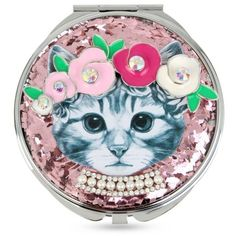 Betsey Johnson Pink Silver-Tone Floral Cat Glitter Mirror Compact found on Polyvore featuring beauty products, beauty accessories, makeup, pink and betsey johnson