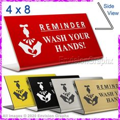 4x8 Engraved Plastic Professional Office Reminder WASH YOUR HANDS Desk Sign F Custom Engraving, Laser Engraving, Lava, Desk Name Plates, Pet Id Tags, Stay Safe, Hospitality, Environment, Card Holder