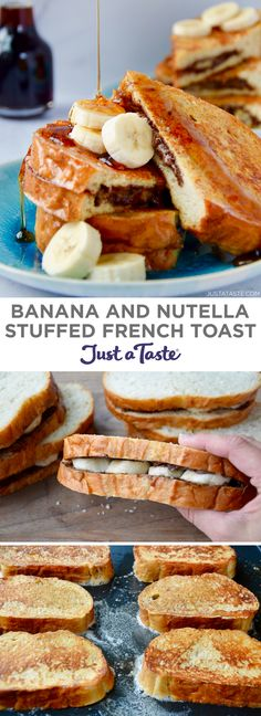 Take a classic breakfast dish to a whole new level with this kid-friendly recipe for Banana and Nutella Stuffed French Toast! Sliced bananas and your favorite hazelnut spread tucked inside an egg-batt Nutella Breakfast, Nutella French Toast, Banana French Toast, Breakfast Toast, French Toast Bake, Breakfast Dishes, Breakfast Casserole, French Toast Recipes, Healthy French Toast