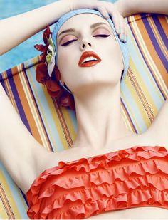 Oooh, that makeup!   Elle-50s Spread by Signe Vilstrup