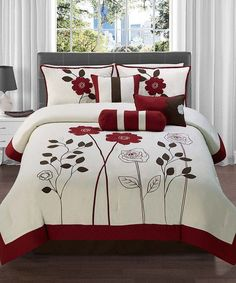 7 Pc Red Brown and Tan Floral Comforter Set Bed in a Bag Queen Size Bedding By Plush C Collection ** Click image for more details. Red Comforter Sets, Floral Comforter, Brown Comforter, White Bedding, King Size Comforters, Queen Size Bedding, Bed Cover Design, Bed Design, Bedroom Red