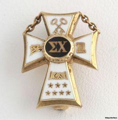 Vintage Sigma Chi Fraternity Badge 10K Yellow Gold Cross Box Pin ...