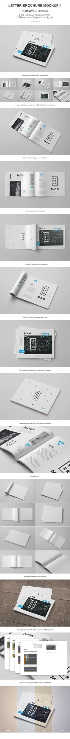 Photorealistic LETTER magazine/borchure/catalog mock-up. So much in 9 PSD files. Easy to use with smart objects. Just open the psd file and then replace all of the objects. Includes a help file in PDF format and assistance inside the PSD files.