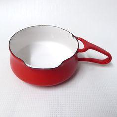 Vintage #Dansk #Kobenstyle red & white enamel milk pan/butter warmer. #Danish mid-century/retro 60's. Jens #Quistgaard 1HQ. Saucepan/warming. by CocoCollectables on Etsy