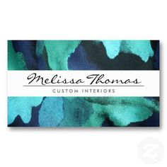 Gorgeous! ELEGANT NAME with BLUE FLORAL FABRIC Customizable business card for interior designers