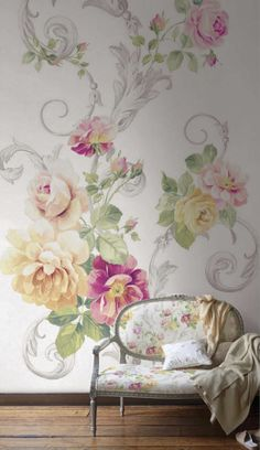 Make a big statement with this extra large patterned floral wallpaper.