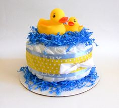 Rubber Ducky Diaper Cake Mini In Blue And Yellow