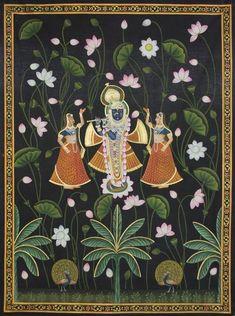 Shree Krishna With Gopis in Lotus,[product_collection],Artisera Pichwai, - Artisera Pichwai Paintings, Mughal Paintings, Indian Art Paintings, Peacock Painting, Cow Painting, Music Painting, Silk Painting, Shree Krishna, Krishna Art