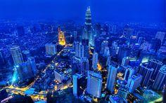 Taken from the Menara Kuala Lumpur. Seen are the Petronas Towers and. Kuala Lumpur, Free Desktop Wallpaper, City Wallpaper, Wallpaper Desktop, Hd Desktop, Malaysia Tourism, Petronas Towers, Blue City, Scouts