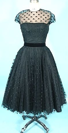 c. 1950's HARVEY BERIN Designed by KAREN STARK Black Dotted Swiss Net Dress - reminds me of the dresses my grandmother had stored in her basement that I use to play dress-up in...wish I knew to keep them