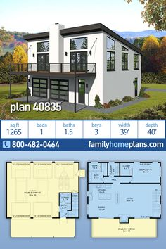 3 bay garage apartment plan with one large bedroom, one full bat upstairs and a half bath on the main parking level. Garage Apartment Floor Plans, Garage Floor Plans, Garage Apartments, House Floor Plans, Above Garage Apartment, Bedroom Apartment, Family House Plans, New House Plans, Modern House Plans