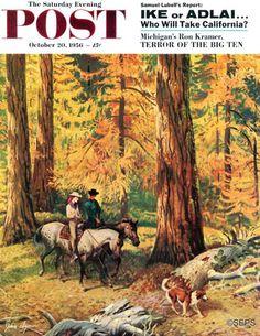 Fall Horseback Ride by John Clymer,  October 20, 1956, The Saturday Evening Post.