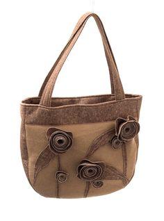 FELT BAG  Brown armbag / handbag with flowers Handmade by Anardeko