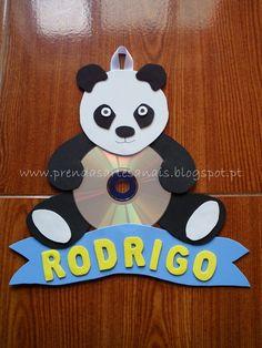 Urso Panda - Placa para porta de Criança