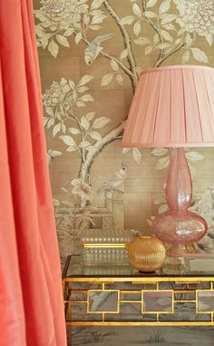 sadie + Stella  Love this wallpaper with side table combo
