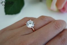 3 carat 9mm Solitaire Engagement Ring, Round Man Made Diamond Simulant, Wedding, Promise Ring, Bridal, Sterling Silver, Rose Gold Plated
