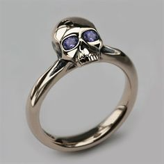 Small Skull Ring in & White Gold & Tanzanite – Women's & Men's Skull Jewellery – Quality Designer Jewellery – Stephen Einhorn … Skull Jewelry, Gothic Jewelry, Silver Jewelry, Silver Rings, Diamond Jewelry, Jewelry Rings, Jewlery, Diy Jewelry, Jewellery Nz