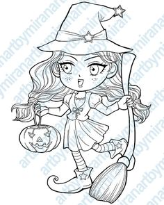 halloween digital stamp trick or treat witch by artbymiran on etsy - Coloring Pages Witch