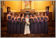 Grey Bridesmaid Dresses With Purple Flowers
