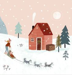 Nordic Christmas, Christmas Scenes, Christmas Design, Christmas Art, Christmas Landscape, Xmas, Art And Illustration, Christmas Illustration Design, Art Mignon