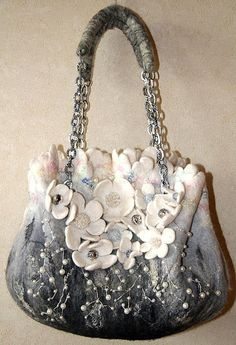 White and grey accent floral felted bag - I love the buttons for the middle of the flowers!