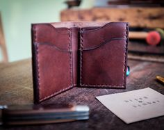 """Leather Vertical Wallet, """"Oswald"""" series, Wickett and Craig Harness Leather 4-5oz."""