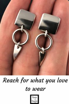 """Handmade square carved sterling silver earrings with small hoop and carved triangle dangles. They are cute and shiny and made from sterling silver. Size: Total length is 1 1/4""""; Earring width is 3/8"""" and Thickness of earring and dangle is 3/8"""""""