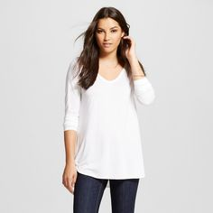 Women's Long Sleeve V-Neck Tee White Xxl - Mossimo