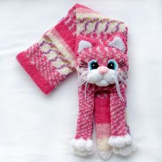 Knitted cat scarf,Knitted kids scarf,Animal scarf,Cat scarf,Knit scarf by NPhandmadeCreations on Etsy: