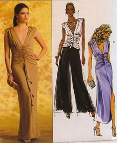 Butterick Ladies Top, Dress and Pants Pattern 4982 Uncut, Sizes for sale online Pants Pattern, Palazzo Pants, Evening Party, Vintage Sewing Patterns, Vintage Dresses, Cocktail, Formal Dresses, Lady, Tops