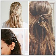 ANGELANGELA Minimalist HOT Gold Silver Hollow Triangle Geometric Metal Hairpin Hair Clip Clamps Accessories Barrettes Bobby Pin Ponytail Holder Statement Womens GIFT Headwear Styling Jewelry >>> Read more  at the image link. (This is an Amazon affiliate link and I receive a commission for the sales and I receive a commission for the sales)