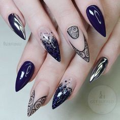 Blue stiletto nail design