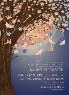 Paper Crane Moon Wedding Invitation // Navy and Peach // Sakura Tree