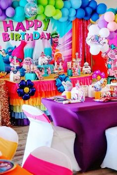 Check out this fun Trolls birthday party! The party decorations are magical! See more party ideas and share yours at CatchMyParty.com   #catchmyparty #partyideas #trolls #trollsparty #girlbirthdayparty Trolls Birthday Party, Girls Birthday Party Themes, Troll Party, Girl Birthday, Birthday Parties, Happy Birthday, Dessert Table Backdrop, Dessert Tables, Ideas Para Fiestas