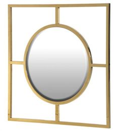 Geometric square frame gold mirror