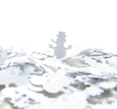 Snowman Paper Punches Confetti White Snowmen for Winter - Brown Eyed Rose - pretty little things for dolls and people