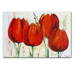 Schilderij rode tulpen vers uit het atelier van onze kunstenaars. Artdeals heeft een ruim assortiment aan bloemen schilderijen. Prijzen vanaf €99,95!